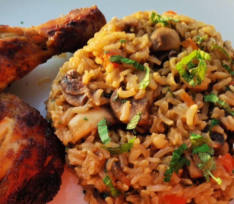 Toasted brown rice and mushroom/ Supplied